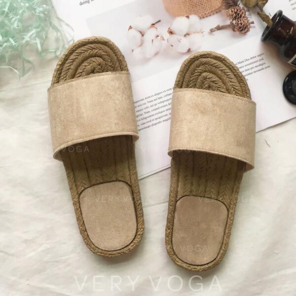 Frauen Veloursleder Flascher Absatz Sandalen Peep Toe Pantoffel mit Einfarbig Schuhe
