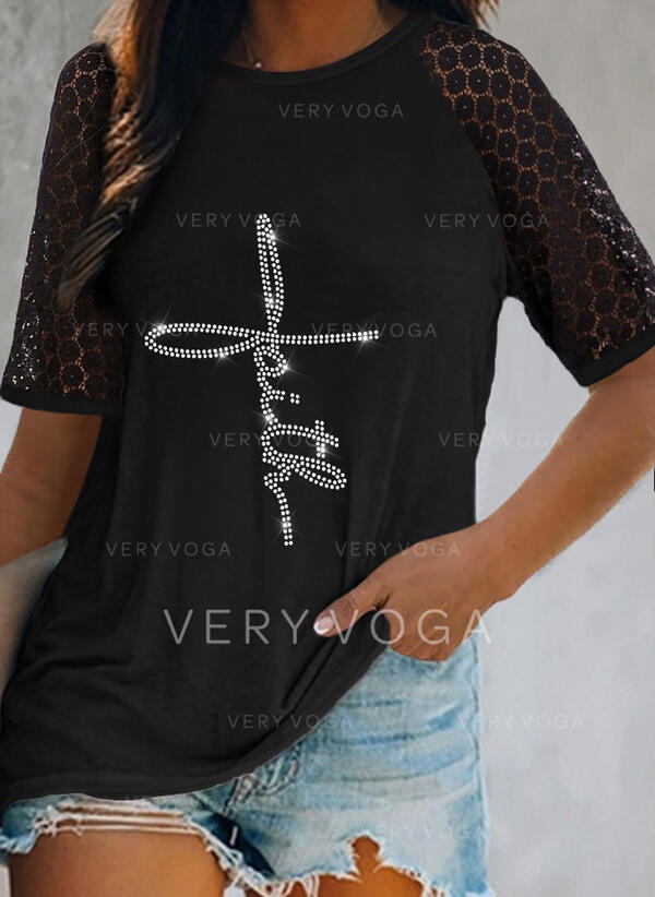Lace Sequins Letter Round Neck Short Sleeves Casual Blouses