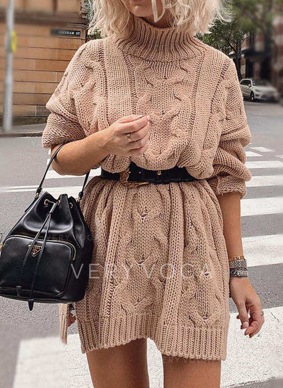 Solid Long Sleeves A-line Above Knee Casual Sweater Dresses