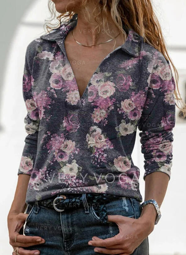 Print Floral Lapel Long Sleeves Casual Shirt Blouses