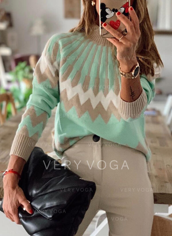 Color Block Geometric Print Crew Neck Casual Sweaters