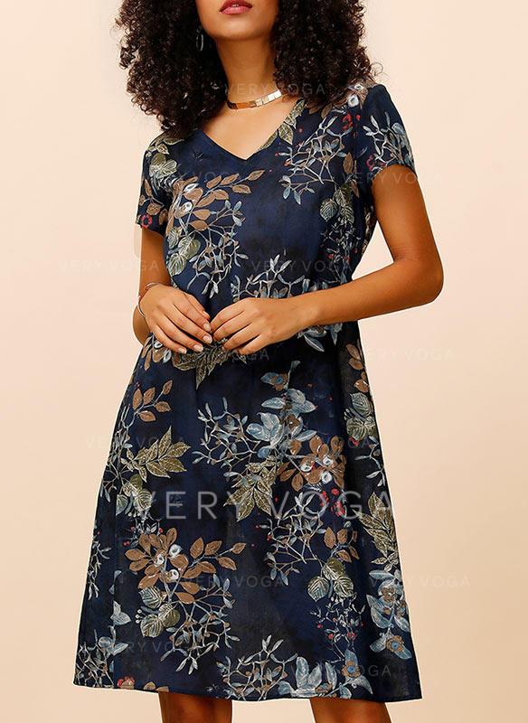 Print/Floral Short Sleeves Shift Knee Length Casual/Boho/Vacation Dresses