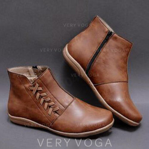 Kvinnor PU Flat Heel Stövlar med Spänne skor