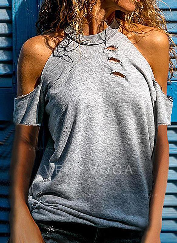 Couleur Unie Épaule Froide Manches Courtes Décontractée Sexy T-shirt