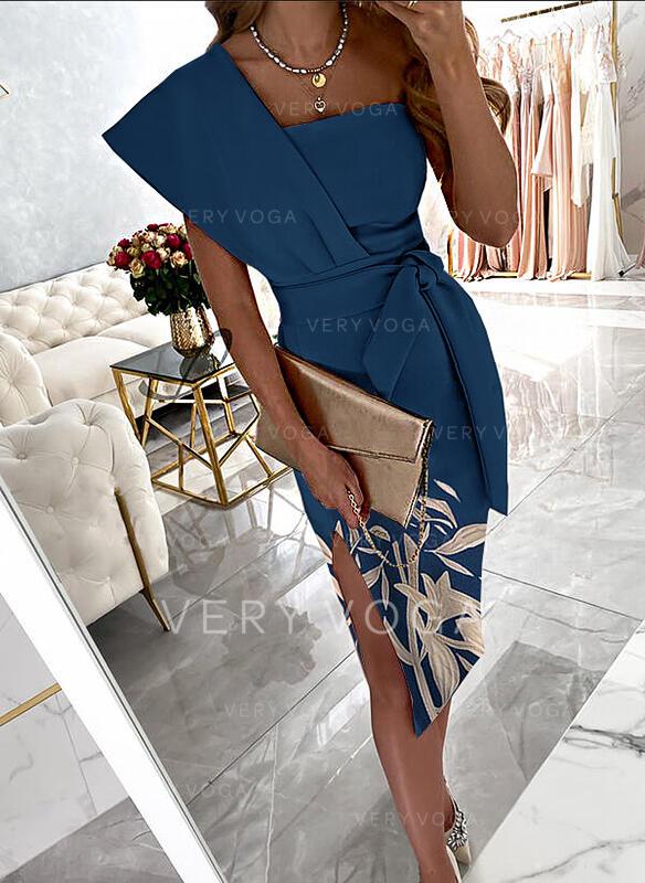 Impresión/Floral Manga Corta Cubierta Hasta la Rodilla Fiesta/Elegante Vestidos
