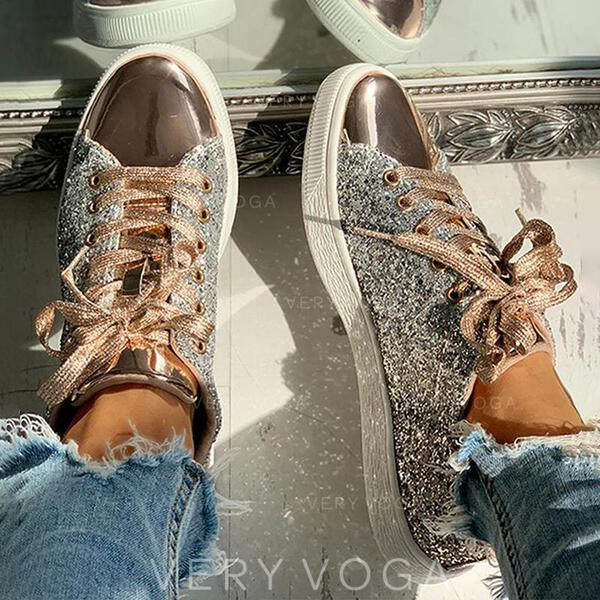Women's Leather Casual Athletic With Sequin Lace-up shoes