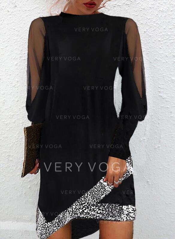 Jednolity cekiny Długie rękawy Suknie shift Nad kolana Mała czarna/Elegancki Sukienki