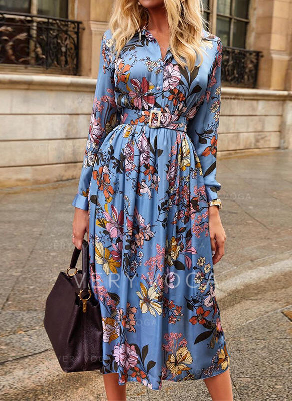 Print/Floral Long Sleeves A-line Skater Casual/Vacation Midi Dresses