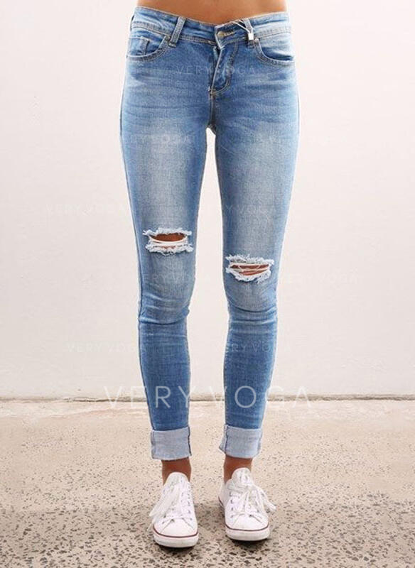 Shirred Plus Size Ripped Long Sexy Skinny Denim & Jeans