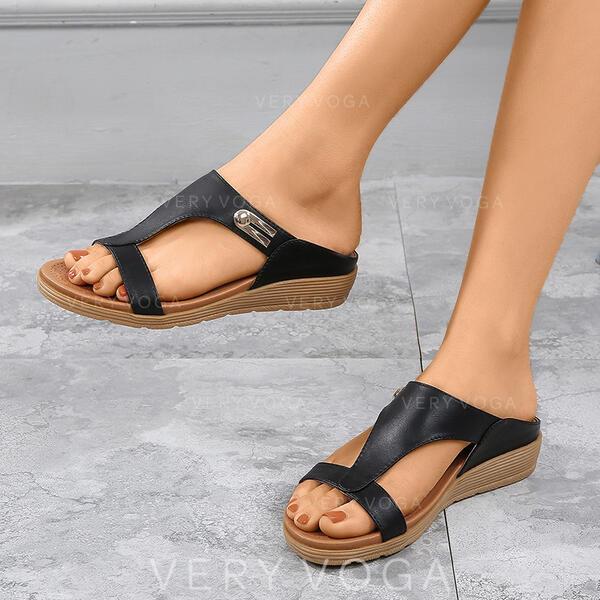 De mujer PU Tipo de tacón Sandalias Cuñas Encaje Pantuflas con Agujereado zapatos