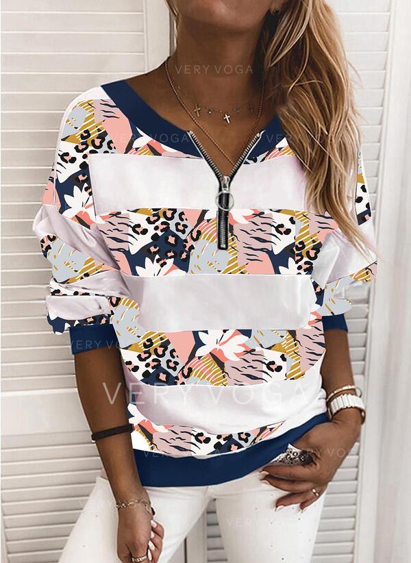 Print Leopard V-hals Lange ærmer Sweatshirts
