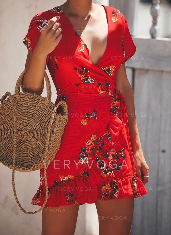 Распечатать/Цветочный С коротким рукавом ножны Выше колена Повседневная Платья