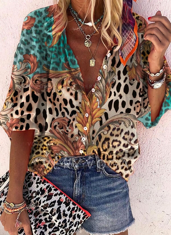 baskı leopárd V yaka 3/4 Kollu Düğmesiz Yakalı Günlük Gömlekler