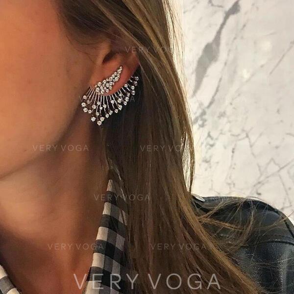 Brillant Chic Alliage Strass Femmes Boucles d'oreilles