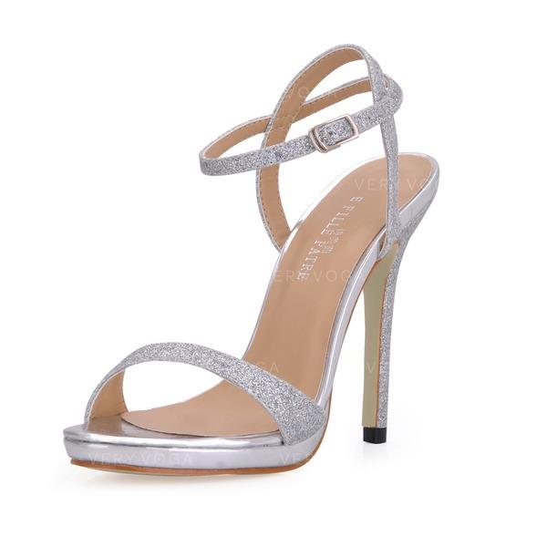 6bb0df3336b1d0 Vrouwen Sprankelende Glitter Stiletto Heel Sandalen Slingbacks met Gesp