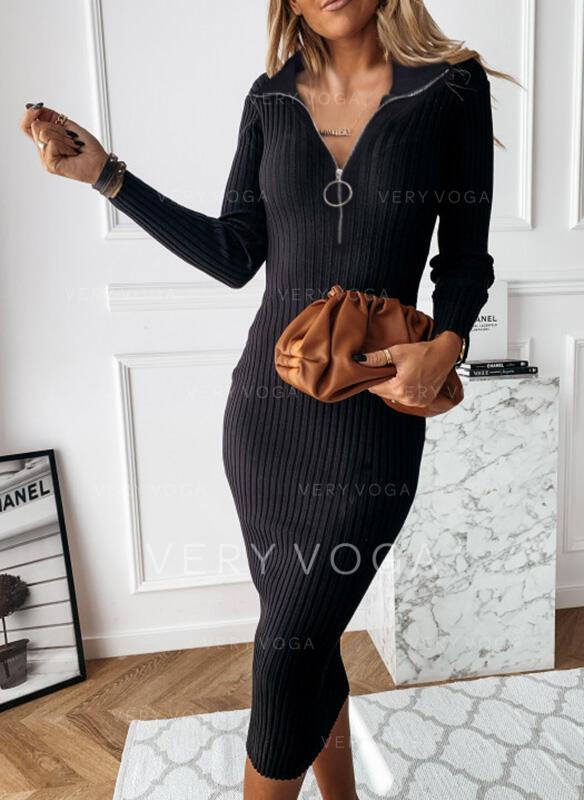 Jednolita Długie rękawy Bodycon Ołówkowa Mała czarna/Casual/Elegancki Midi Sukienki
