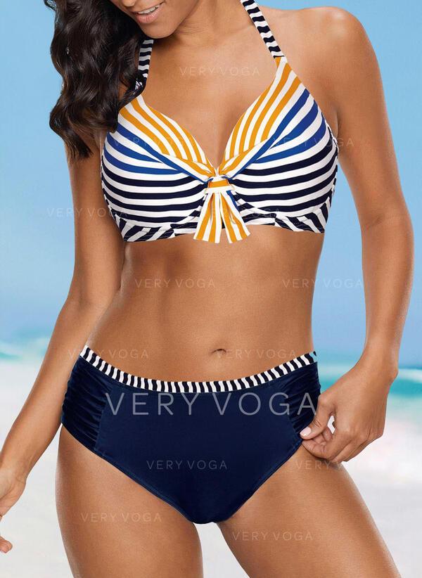 Stripe High Waist Push Up Halter Sexy Bikinis Swimsuits