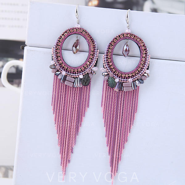 Stylish Crystal Copper With Imitation Crystal Women's Fashion Earrings (Set of 2)
