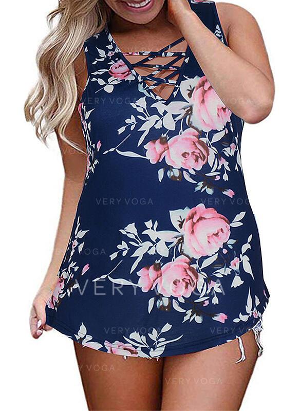 Estampado Floral Decote em V Sem Mangas Casual Tamanho positivo Camisetas regata