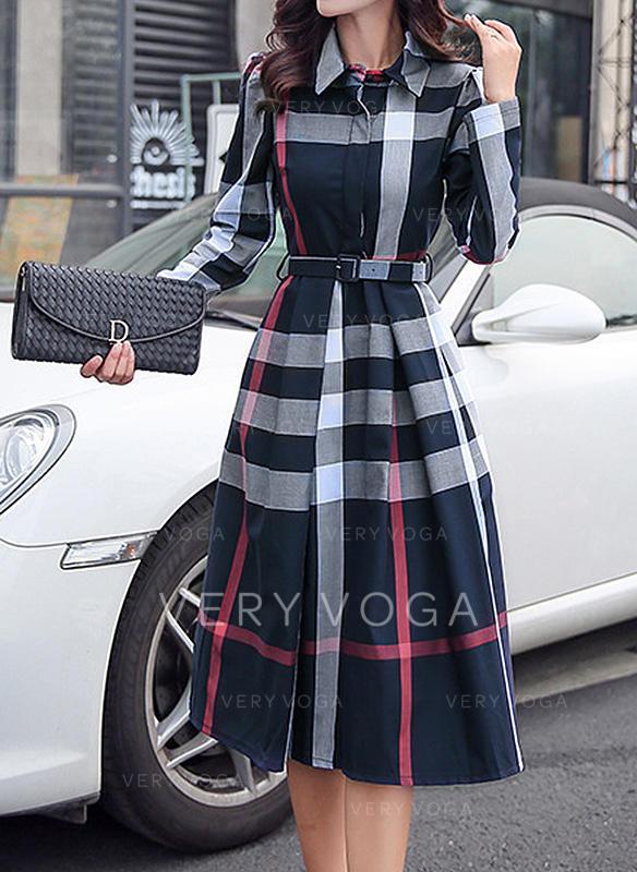 W kratę Długie rękawy W kształcie litery A Długośc do kolan Elegancki Sukienki