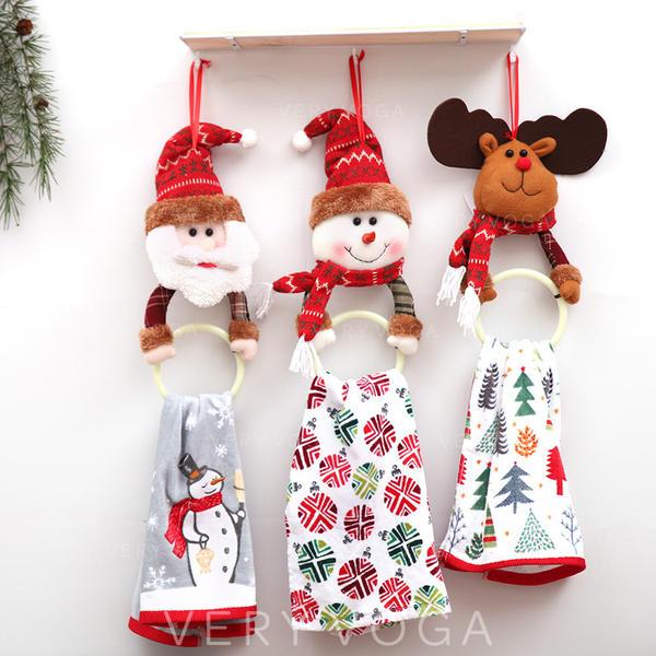 Snowman Reindeer Santa Christmas Hanging Cloth PVC Christmas Décor