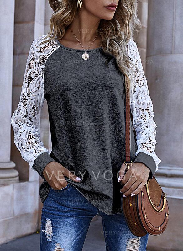 Blonder rund hals Lange ærmer Sweatshirts