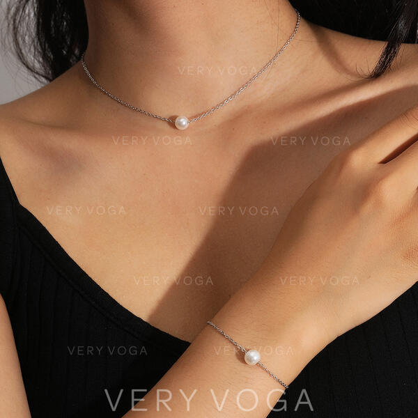 Sexy Ancien Style Classique Conception de la carte Alliage De faux pearl avec Perle d'imitation Femmes Dames Colliers Bracelets 2 PCS