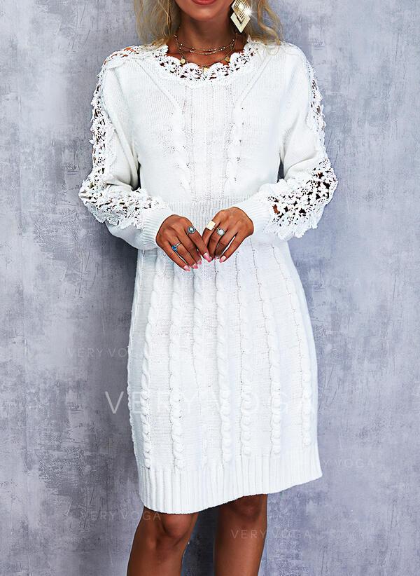 кружевной Длинные рукова Прямые платья Выше колена элегантный Свитер Платья