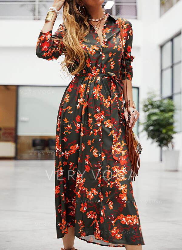 Print/Floral Long Sleeves A-line Shirt Casual Midi Dresses
