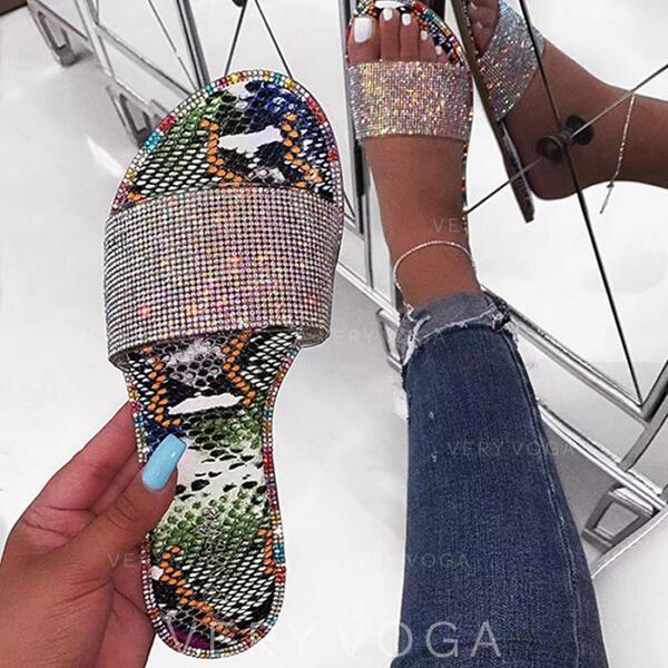 Dla kobiet PU Płaski Obcas Sandały Kapcie Z Byszczący brokat obuwie