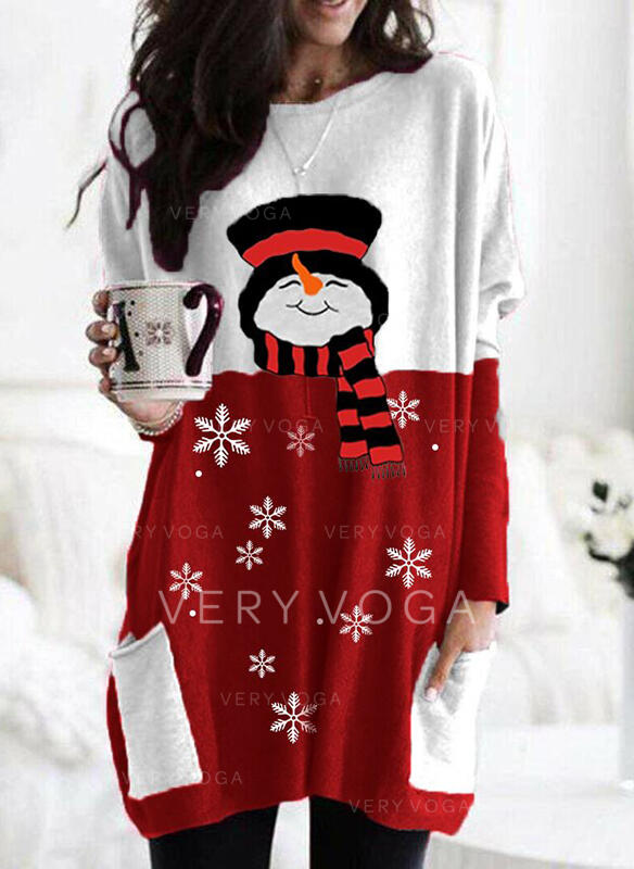 Print Color Block Pockets Round Neck Long Sleeves Christmas Sweatshirt