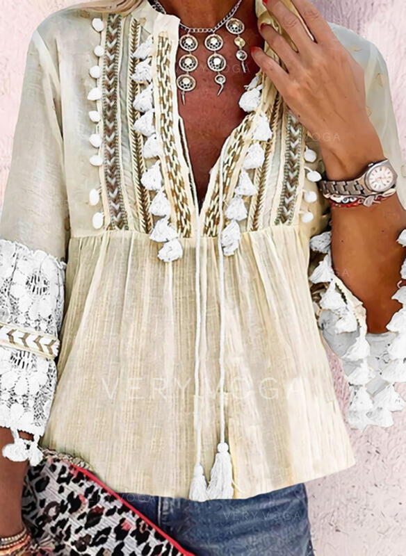 Print Lace V-Neck 3/4 Sleeves Flare Sleeve Casual Blouses