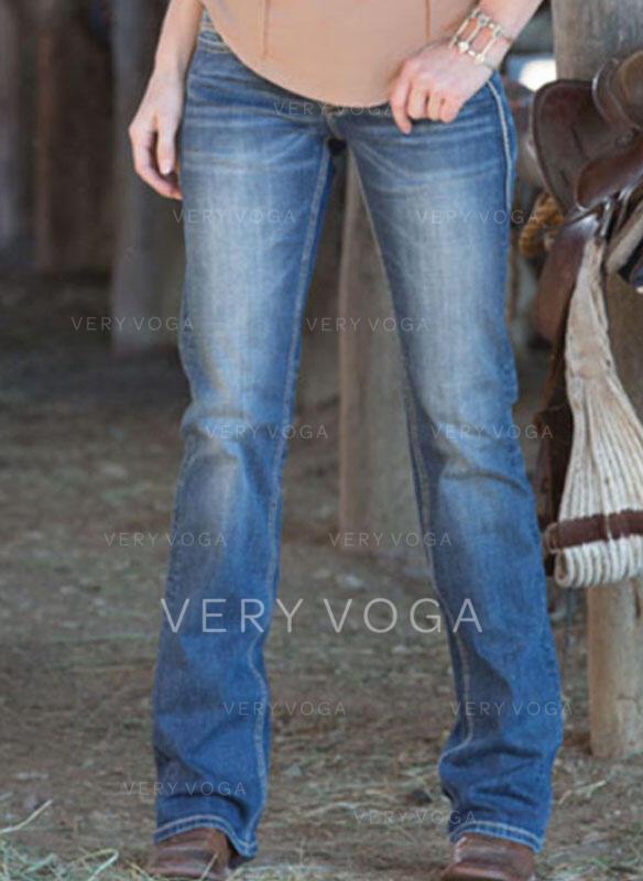Froncé Grande taille Longue Élégante Plaine Jeans