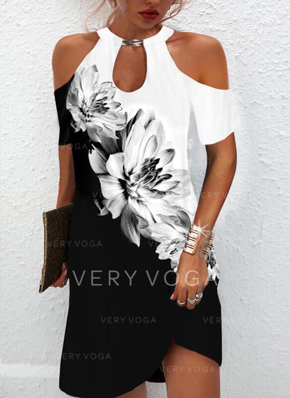 Imprimeu/Floral/Renkli klişe Mâneci Scurte Soğuk omuz kılıfı Shift Elbiseleri Deasupra Genunchiului gündelik Tunică Elbiseler