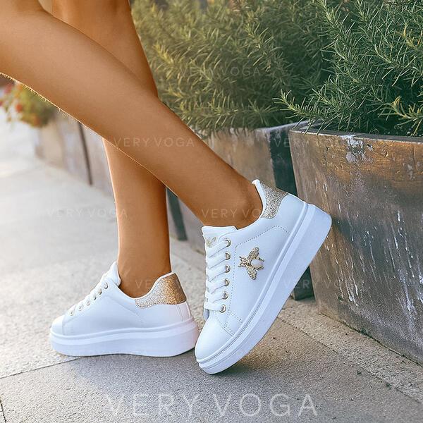 Mulheres PU Casual Outdoor com Pérola Imitação Aplicação de renda sapatos