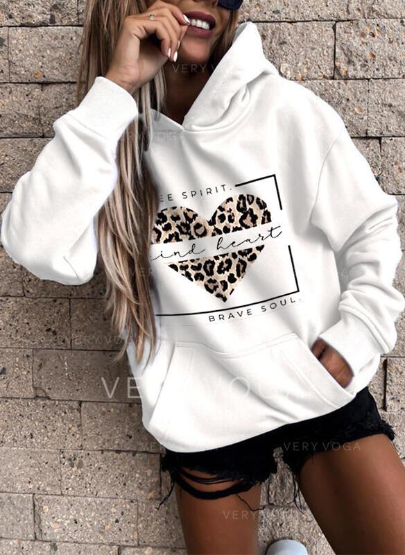 Print Leopard Figure Heart Pockets Long Sleeves Hoodie