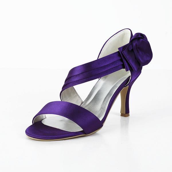 Women's Satin Spool Heel Peep Toe Sandals With Bowknot Velcro