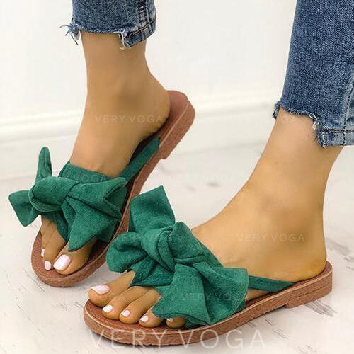 Women's Suede Flat Heel Sandals Peep Toe Slippers With Bowknot shoes