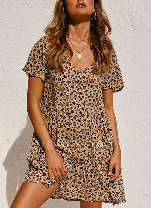 Leopard Short Sleeves Shift Above Knee Casual/Vacation Dresses