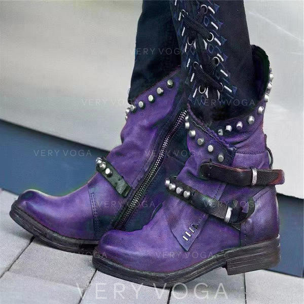 Women's PU Chunky Heel Boots With Rivet Buckle shoes