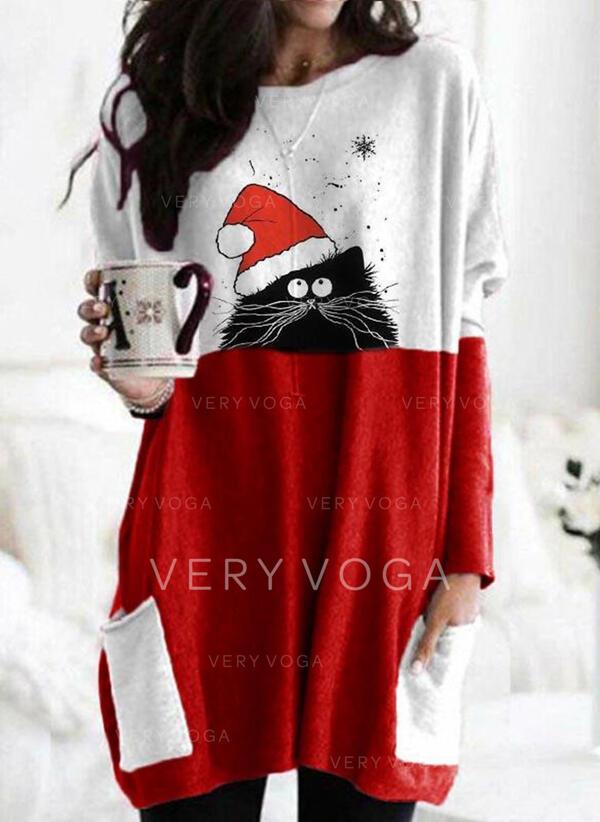 Animal Print Kerek nyak Hosszú ujjú Karácsonyi pulóver