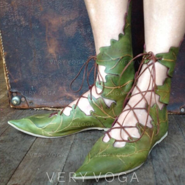Kvinder Kunstlæder Flad Hæl Fladsko med Båndknude sko