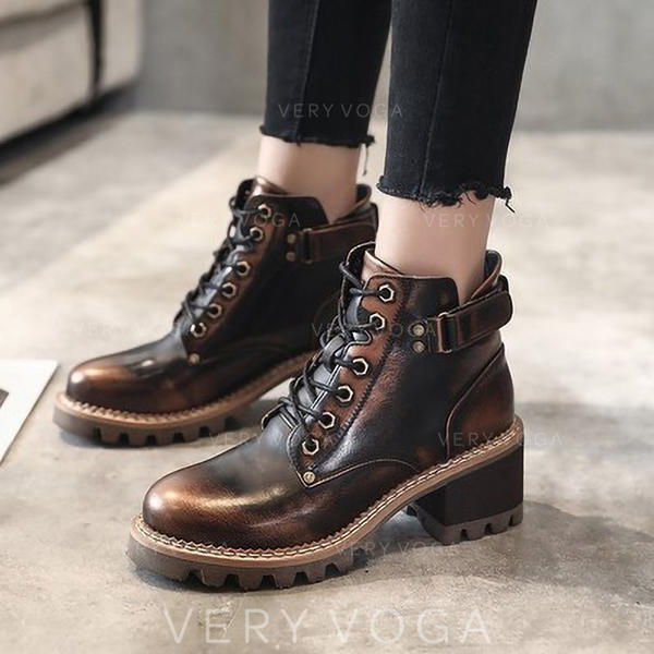 Women's Leatherette Chunky Heel Pumps Martin Boots With Rivet Lace-up shoes