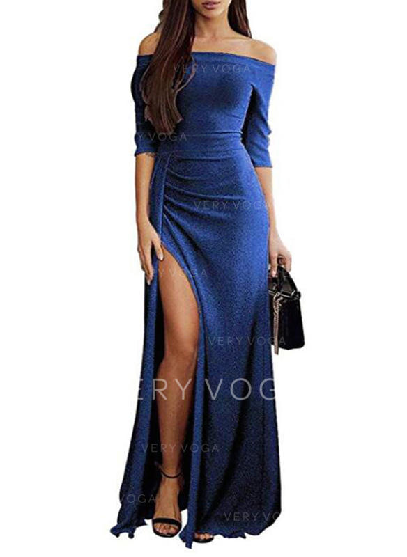 Solid 1/2 Sleeves Sheath Maxi Party/Elegant Dresses