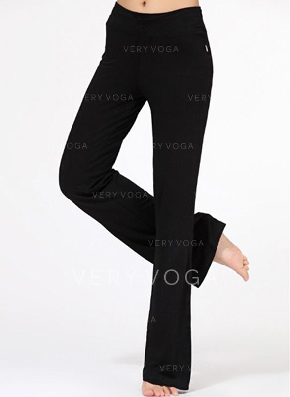 Cor sólida Cintura Alta Calças esportivas