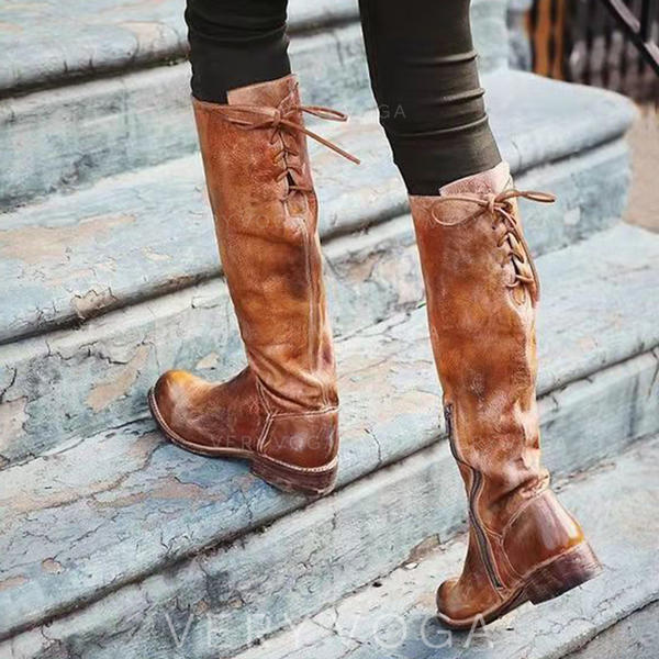 Women's PU Low Heel Boots Knee High Boots With Zipper Lace-up shoes