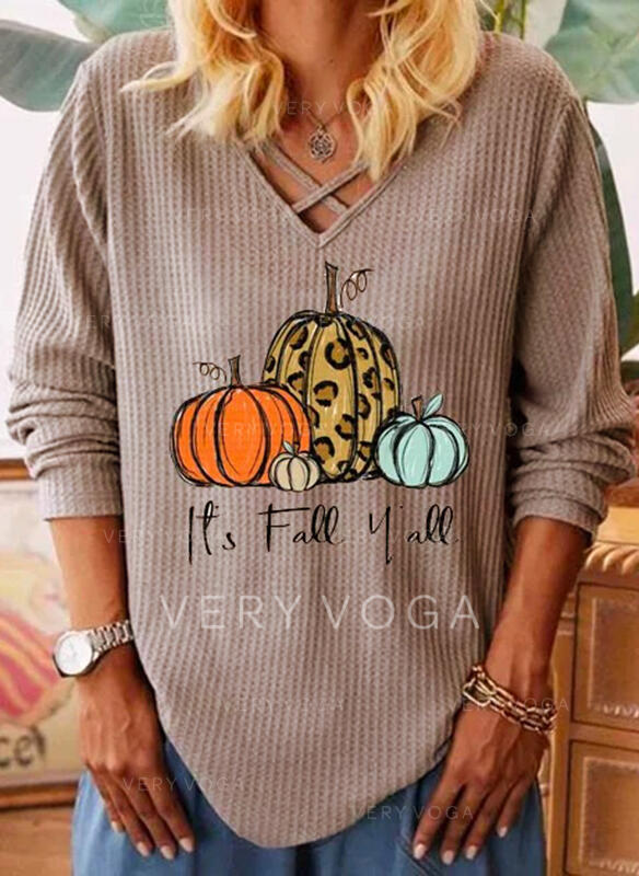 Print Leopard V-Neck Long Sleeves Casual Halloween Knit Blouses