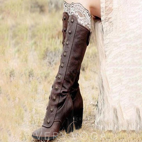 Women's Leatherette Chunky Heel Pumps Boots With Rivet Zipper shoes