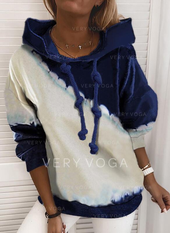 Tie Dye Hoodie Long Sleeves Casual Blouses